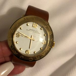 Marc Jacobs watch with brown leather band